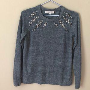 ❤️LOFT Grey Rhinestone Scoop Cotton Sweater XSP❤️